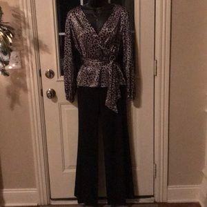 BCBG black pants, wrap top, clutch, & necklace